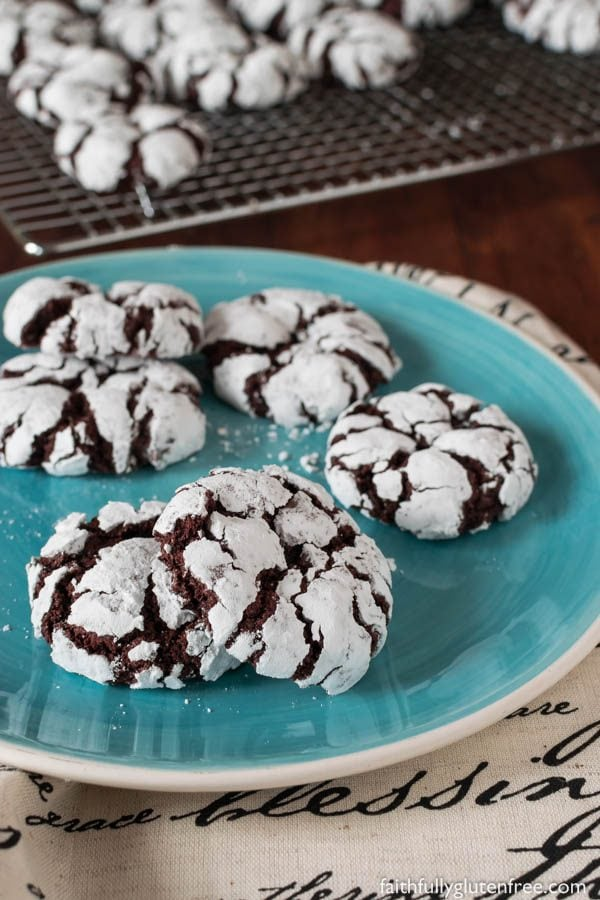 Fudgy Gluten Free Chocolate Crinkle Cookies