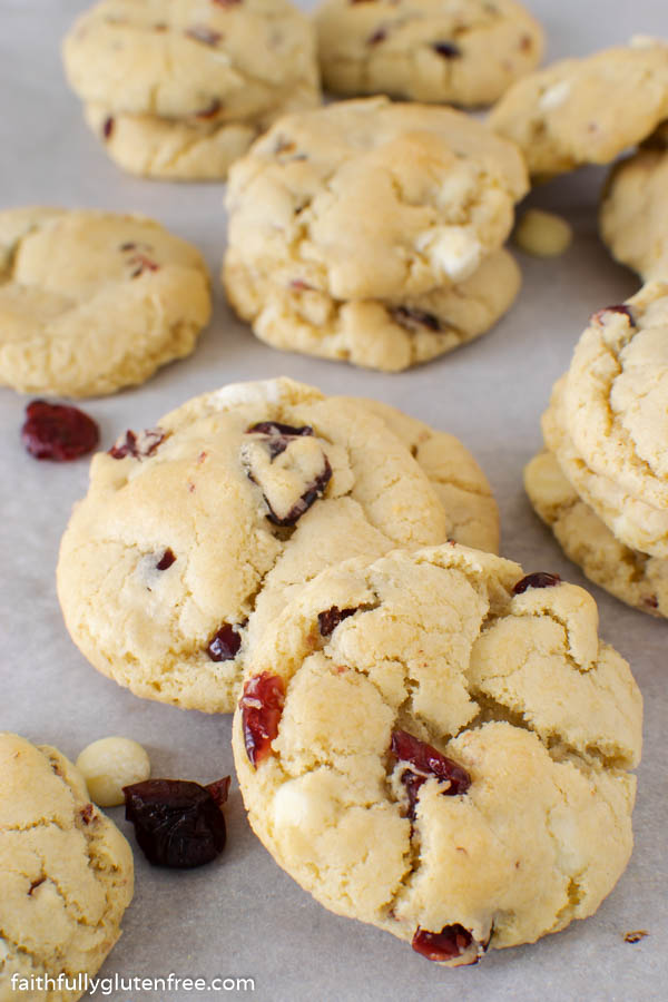 White chocolate cranberry cookies on parchment paper