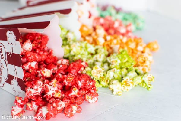 Colored popcorn poured out on a table