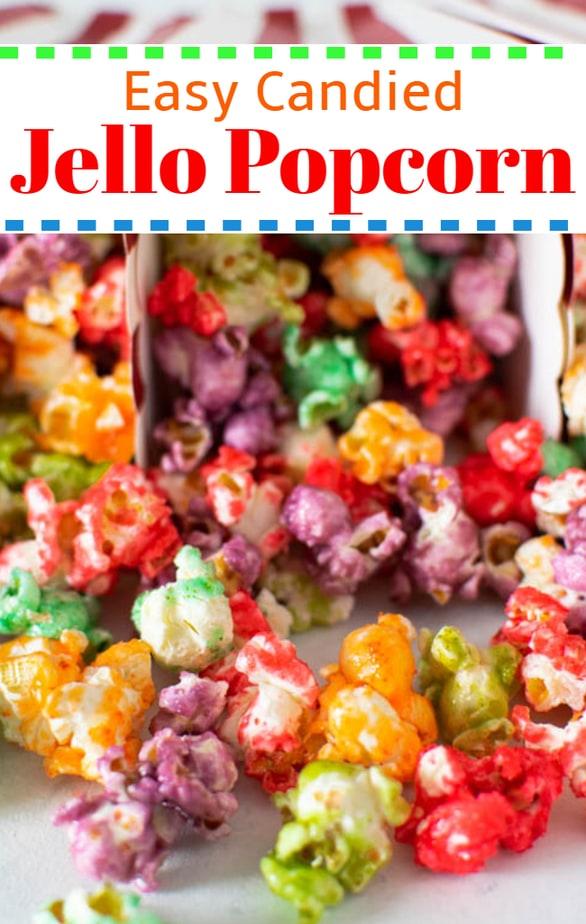 Easy Candied Jello Popcorn recipe