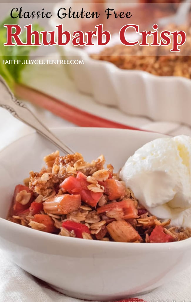 Bowl of Rhubarb Crisp with vanilla ice cream