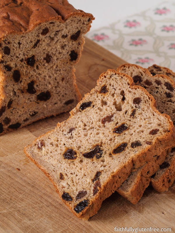 I wish you could smell the aroma of this gluten free Oatmeal Cinnamon Raisin Bread baking. I love this fresh bread with cinnamon, studded with plump raisins, smothered with butter and sprinkled with cinnamon and sugar. Yum!