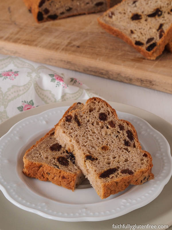 I wish you could smell the aroma of this gluten free Oatmeal Cinnamon Raisin Bread baking. I love this fresh bread - with cinnamon, oats, and studded with plump raisins - smothered with butter and sprinkled with cinnamon and sugar. Yum!