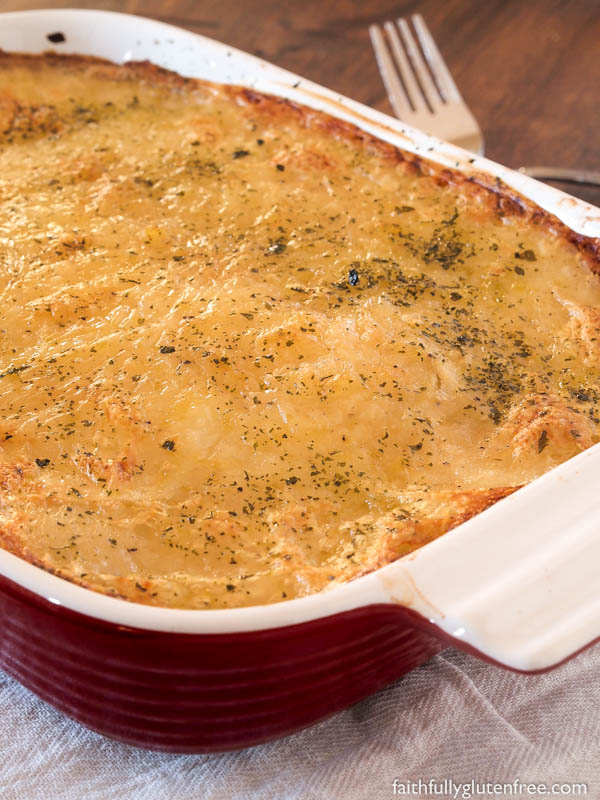 These gluten free, dairy free Scalloped Potatoes with Onions are a quick, lighter version of the old classic side dish.