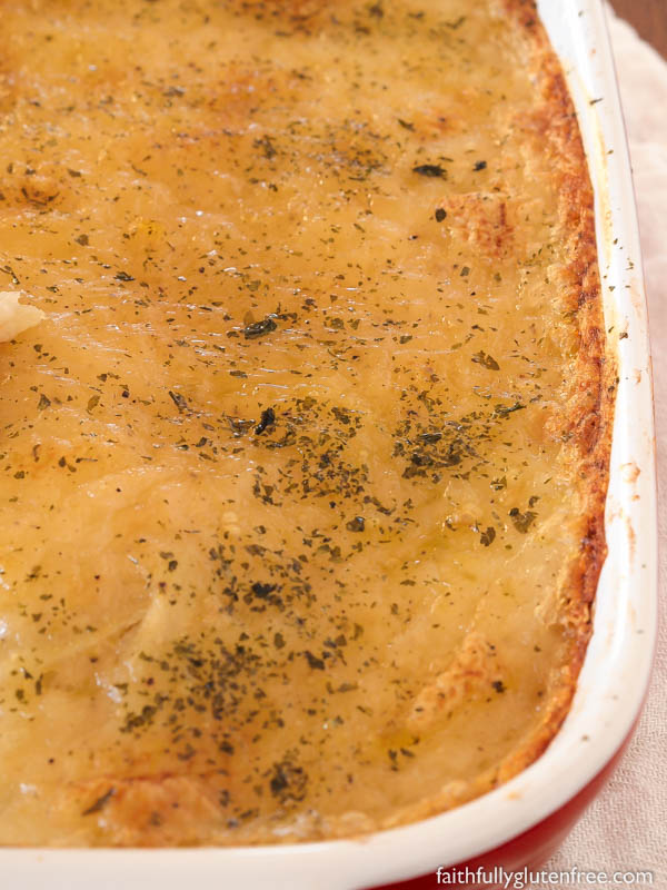 These gluten free, dairy free Scalloped Potatoes are a quick, lighter version of the old classic side dish. You don't need the heavy cream and cheeses to make this delicious potato dish.