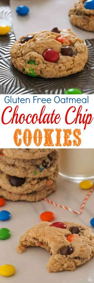 The best Gluten Free Oatmeal Chocolate Chip Cookies. No one will be able to tell they are gluten free!