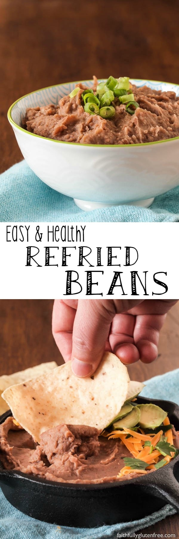 No Mexican meal is complete without a side of these healthy Refried Beans. Learn how easy it is to make your own delicious Refried Beans at home, better than anything you can get in a can, that's for sure!