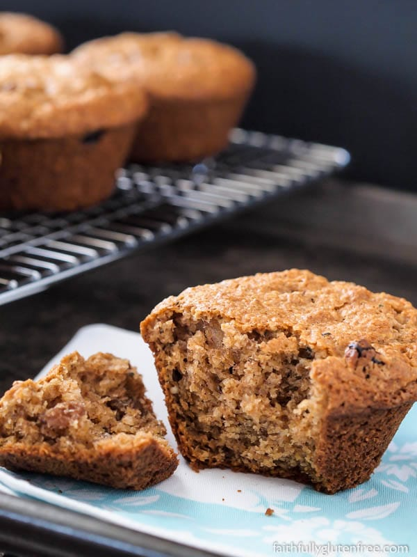 These Gluten Free Raisin Bran Muffins are legit - just like you would have eaten before eating gluten free. Whip up a batch to enjoy with your breakfast, or your morning coffee break.