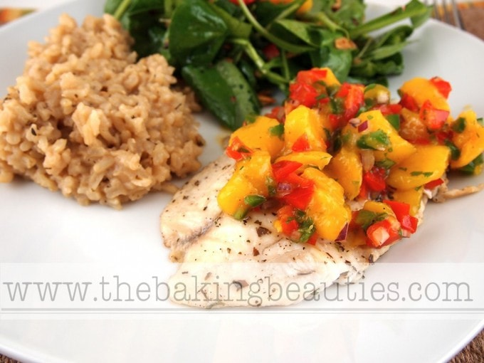 Grilled Tilapia with Mango Salsa | The Baking Beauties