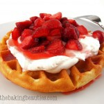 Gluten-Free Lemon Cornmeal Waffles with Strawberry Rhubarb Syrup