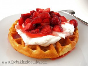 Gluten-free Lemon Cornmeal Waffles with Rhubarb and Strawberry Sauce