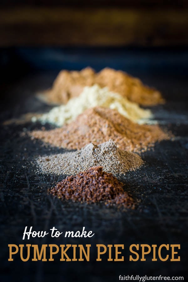 Piles of spices used to make pumpkin pie spice