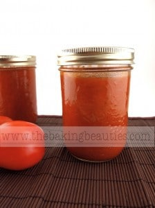 jars of homemade canned tomato soup