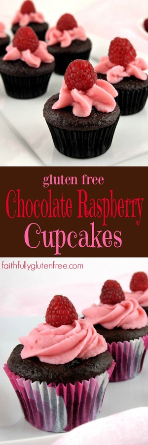 Gluten Free Chocolate Raspberry Cupcakes from Faithfully Gluten Free