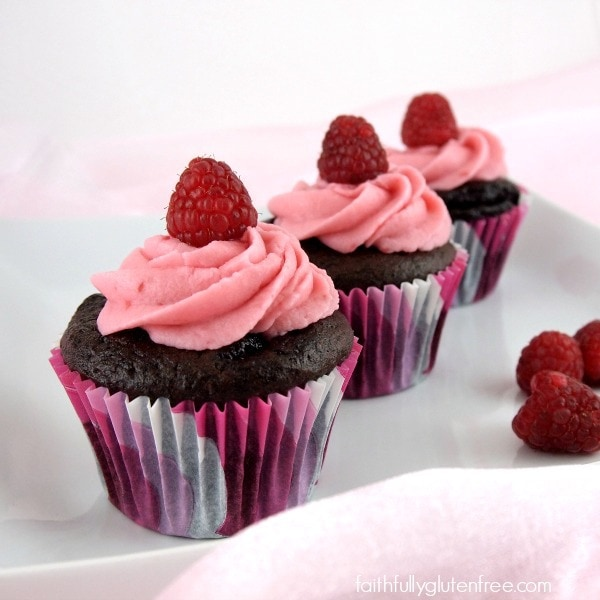 Gluten Free Chocolate Raspberry Cupcakes from Faithfully Gluten Free