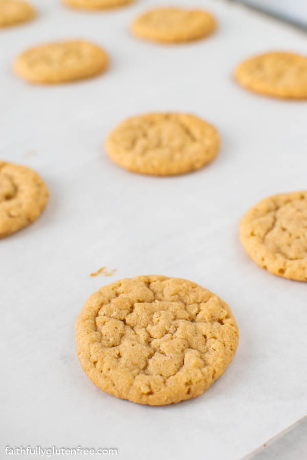 baking sheet with peanut butter cookies