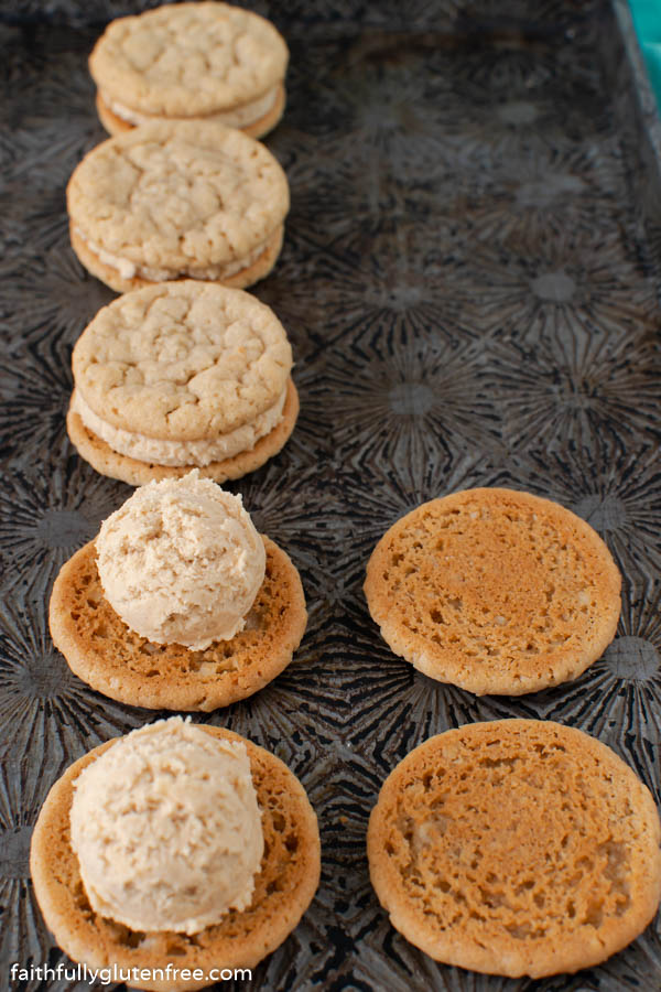 sandwich cookies being assembled