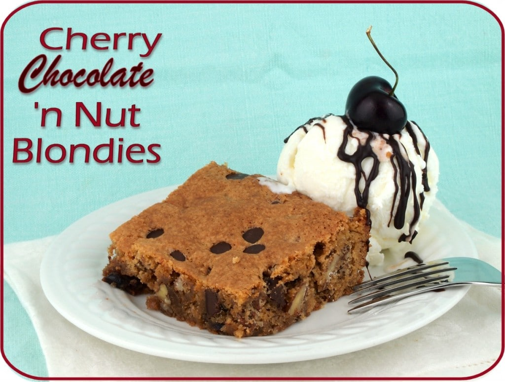 Gluten-free Cherry Chocolate 'n Nut Blondies - Faithfully Gluten Free