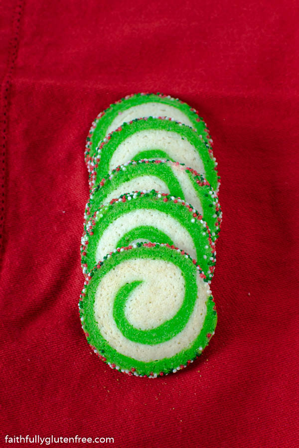 Green and White Pinwheel cookies