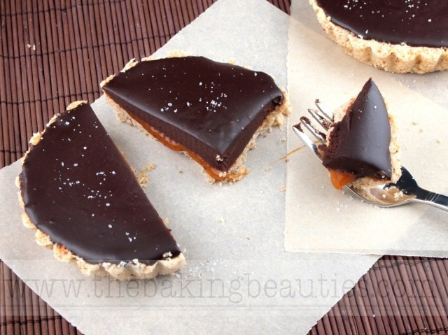 Gluten Free Chocolate and Salted Caramel Tarts from The Baking Beauties