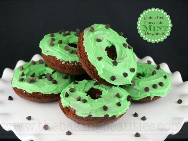 Baked Gluten-free Chocolate Mint Doughnuts from The Baking Beauties