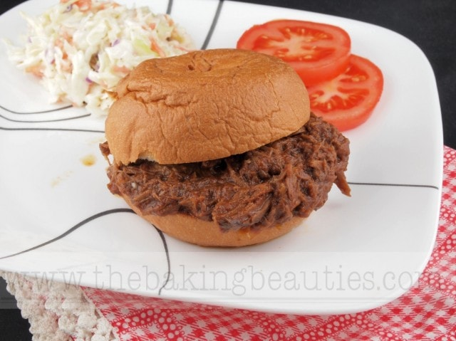 Gluten Free Slow Cooker Barbecue Pulled Beef Sandwiches from The Baking Beauties