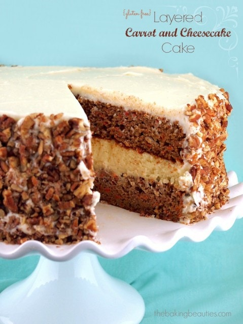 Gluten Free Layered Carrot and Cheesecake Cake | The Baking Beauties