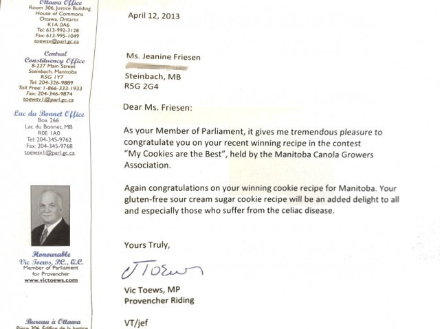 Congratulations Letter from Vic Toews
