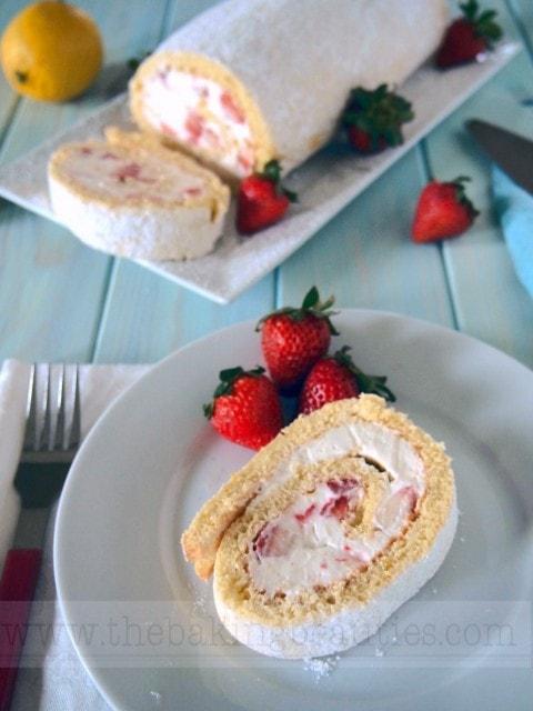 Gluten Free Strawberry Cream Roll Cake | The Baking Beauties
