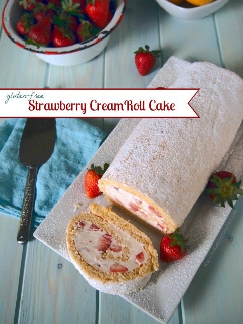 Gluten Free Strawberry Cream Roll Cake from The Baking Beauties