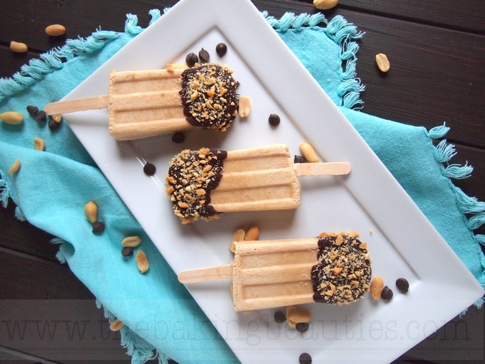 Chocolate Dipped Peanut Butter Popsicles | The Baking Beauties