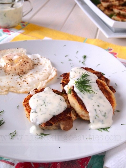 Gluten Free Potato Pancakes with a Creamy Lemon Dill Sauce | The Baking Beauties