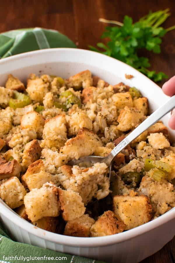 A casserole dish of bread stuffing