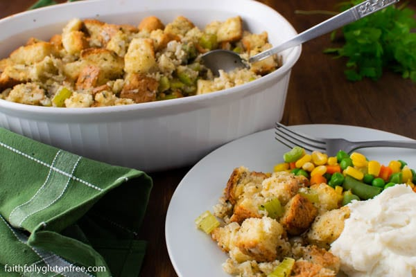 A Thanksgiving plate with stuffing, potatoes and vegetables