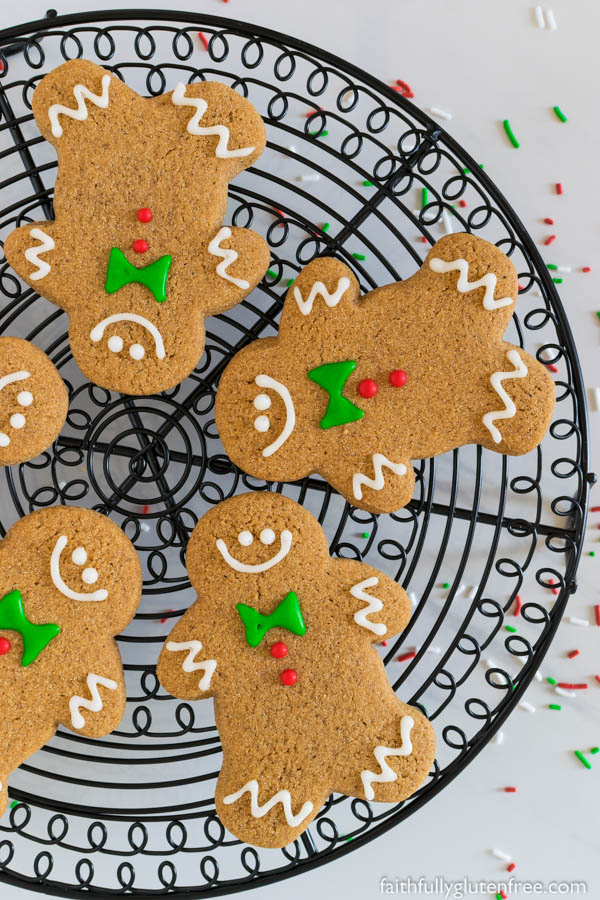The spicy aroma of soft, chewy Gluten Free Gingerbread Men Cookies will make your mouth water. I dare you to not nibble on one while you're decorating them.