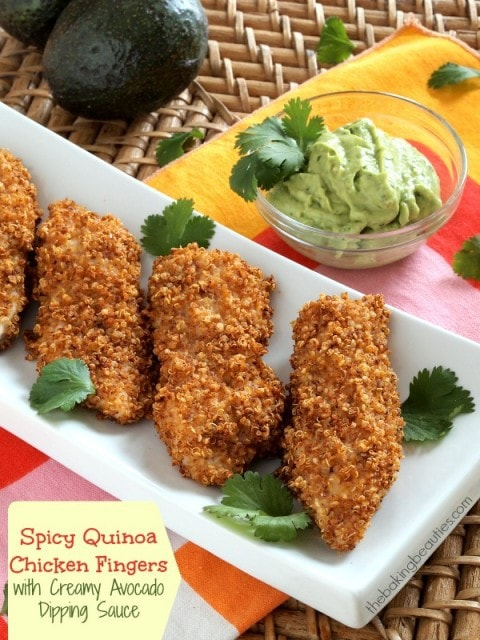 Spicy Quinoa-Crusted Chicken Fingers by The Baking Beauties