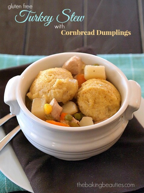 Gluten Free Turkey Stew with Cornbread Dumplings from The Baking Beauties