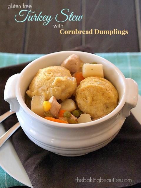 Gluten Free Turkey Stew with Cornbread Dumplings from The Baking Beauties