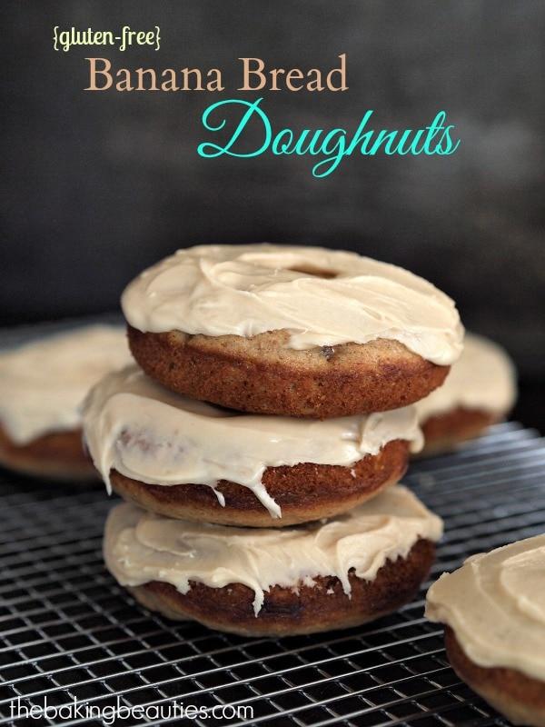 Gluten Free Baked Banana Bread Doughnuts with a Caramel Glaze