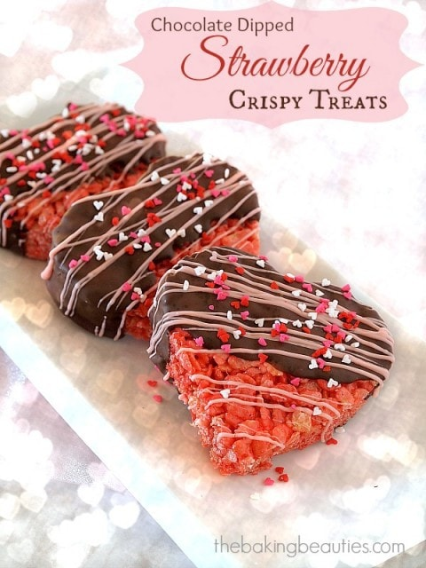 Chocolate Dipped Strawberry Crispy Treats from The Baking Beauties