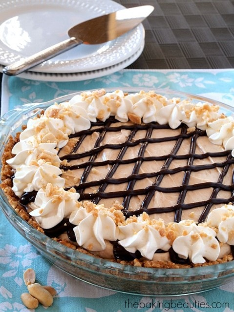 Peanut Butter Pie with Pretzel Crust from The Baking Beauties