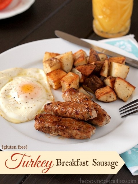 Gluten Free Turkey Breakfast Sausages from The Baking Beauties