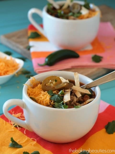 Beef and Bean Burrito Soup from The Baking Beauties