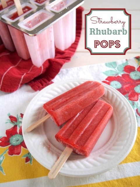 Strawberry Rhubarb Popsicles from The Baking Beauties