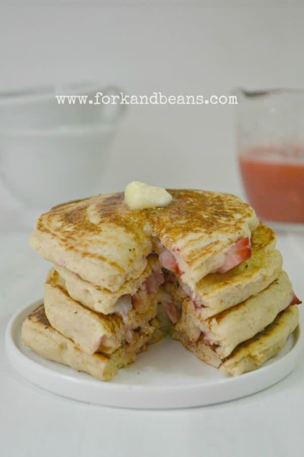 Gluten Free and Vegan Strawberry Rhubarb Pancakes by Fork and Beans