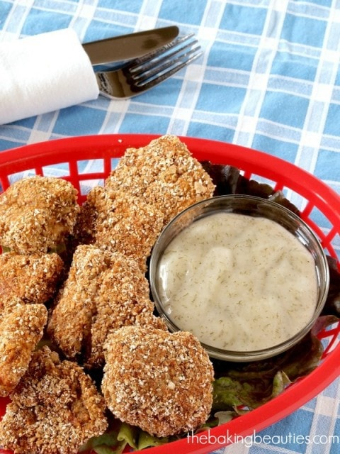 Gluten Free Chicken Nuggets with Honey Dill Dipping Sauce from The Baking Beauties