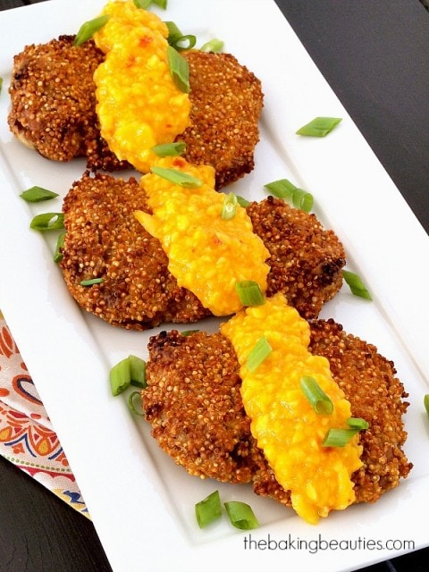 Quinoa Crusted Chicken with Mango Chili Sauce from The Baking Beauties