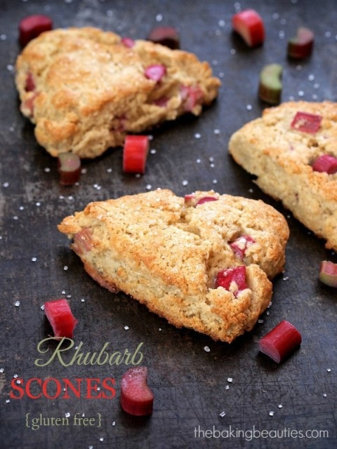 Gluten Free Rhubarb Scones from The Baking Beauties