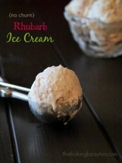 Easy No Churn Rhubarb Ice Cream recipe from The Baking Beauties