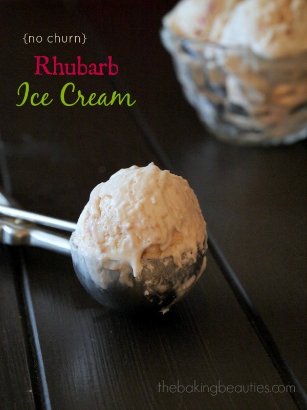 Easy No Churn Rhubarb Ice Cream recipe from The Baking Beauties